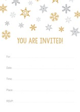 Gold Snowflakes Fill-in Holiday Invitations