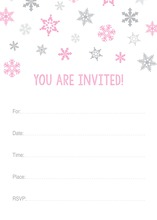 Pink Snowflakes Fill-in Holiday Invitations