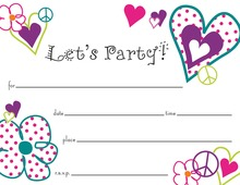 Peace Love Party Fill in White Birthday Invitations