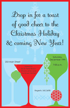 Elegant Drinks Blue Holiday Invitations
