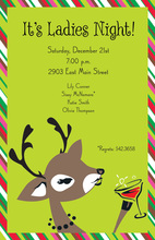 Peeking Reindeer Lime Green Invitations