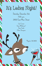 Peeking Reindeer Blue Invitations