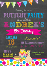 Magenta Pottery Party Chalkboard Invitations