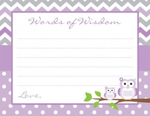 Purple Chevron Owls Baby Shower Advice Cards