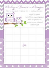 Purple Chevron Owls Baby Shower Bingo Cards