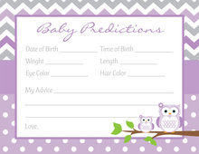 Purple Chevron Owls Baby Shower Prediction Cards
