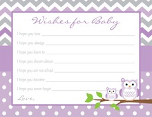 Purple Chevron Owls Baby Shower Wish Cards