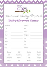 Purple Chevron Owls Baby Animal Name Game