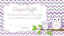 Purple Chevron Owls Raffle Cards