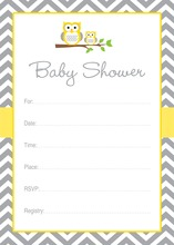 Yellow Owl Chevron Baby Shower Fill-in Invites