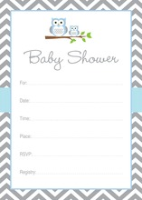 Blue Owl Chevron Baby Shower Fill-in Invites