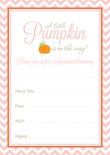 Little Pumpkin Pink Chevron Baby Fill-in Invites