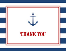 Navy Stripes Anchor Red Border Note