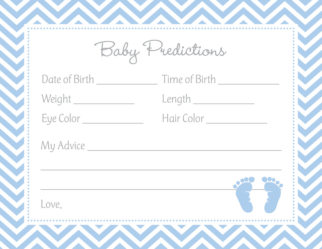 30 Cards Baby Shower Prediction Cards Polka DOTS/_Blue
