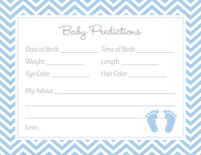 Blue Baby Feet Footprint Baby Shower Prediction Cards