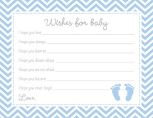 Blue Baby Feet Footprint Baby Shower Wish Cards