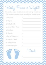 Blue Baby Feet Footprint Baby Shower Price Game