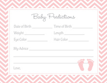 Pink Baby Feet Footprint Baby Prediction Cards