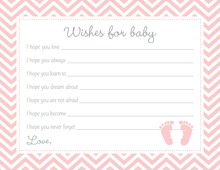 Pink Baby Feet Footprint Baby Shower Wish Cards