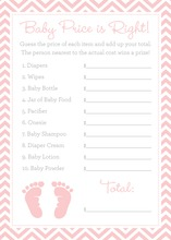 Pink Baby Feet Footprint Baby Shower Price Game