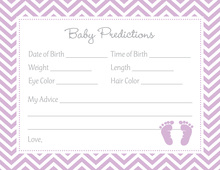 Purple Baby Feet Footprint Baby Shower Prediction Cards