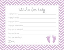 Purple Baby Feet Footprint Baby Shower Wish Cards