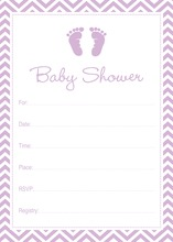 Purple Baby Feet Footprint Fill-in Invitations
