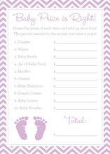 Purple Baby Feet Footprint Baby Shower Price Game