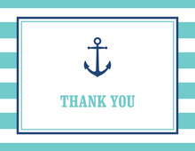 Turquoise Stripes Navy Anchor Nautical Note