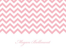Pink Chevrons Personalized Folded Note
