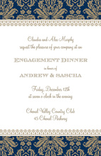 Navy Waldorf Damask Invitations