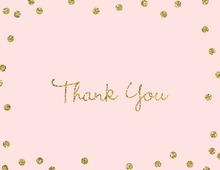 Gold Glitter Graphic Dots Pink Thank You Cards