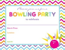 Pink Bowling Party Fill in Invitations