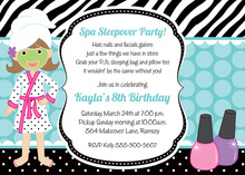Wild Aqua Spa Sleepover Birthday Party Invitations