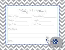 Chevron Navy Elephant Baby Prediction Cards
