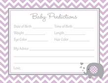 Lavender Chevron Elephant Baby Prediction Cards