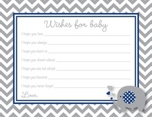 Chevron Navy Elephant Baby Wish Cards