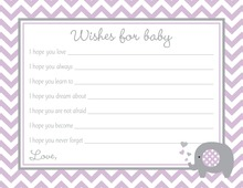 Lavender Chevron Elephant Baby Wish Cards