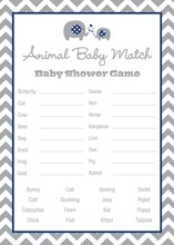 Chevron Navy Elephant Baby Animal Name Game