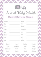 Lavender Chevron Elephant Baby Animal Name Game