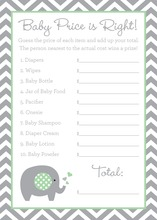 Grey Chevron Mint Elephant Baby Shower Price Game