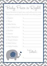 Grey Chevron Navy Elephant Baby Shower Price Game