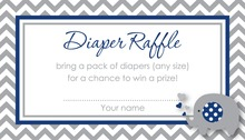 Chevron Navy Elephant Baby Raffle Cards