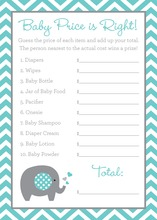 Teal Chevron Elephant Baby Shower Price Game