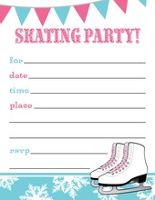 Pink Aqua Ice Skating Party Fill in Invitations