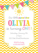 Our Little Sunshine Yellow Chevrons Birthday Invitations