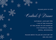 Snow Flakes Navy Holiday Invitations
