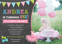 Bow Ties Tutus Photo Birthday Party Invitations