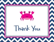 Navy Chevrons Magenta Crab Thank You Cards