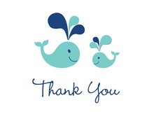 Teal Whale Splash Thank You Cards